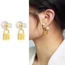 wholesale jewelry retro pearl lock shape copper earrings Nihaojewelry NHGI388892