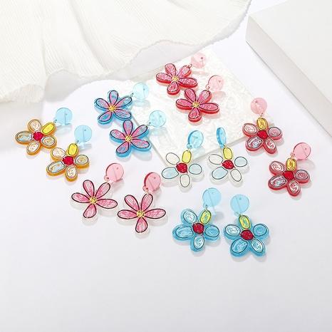 wholesale jewelry color five-leaf clover pattern acrylic earrings nihaojewelry  NHAYN389013's discount tags