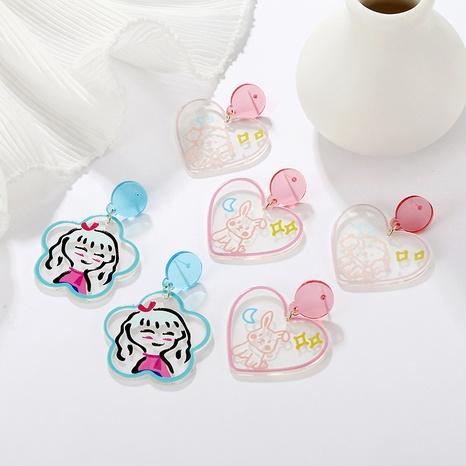 wholesale joyas de dibujos animados con estampado de graffiti animal estrella luna pendientes nihaojewelry NHAYN389011's discount tags