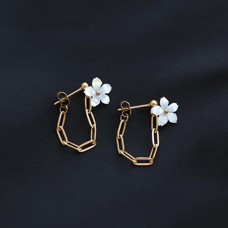 wholesale jewelry flower backhanging chain titanium steel earrings nihaojewelry  NHGC389093