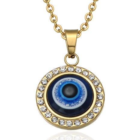 wholesale joyería de acero inoxidable mal de ojo collar colgante redondo Nihaojewelry NHLIZ389105's discount tags