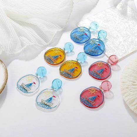 Großhandel schmuck transparente farbe sonnenmuster ohrringe nihaojewelry NHAYN389111's discount tags