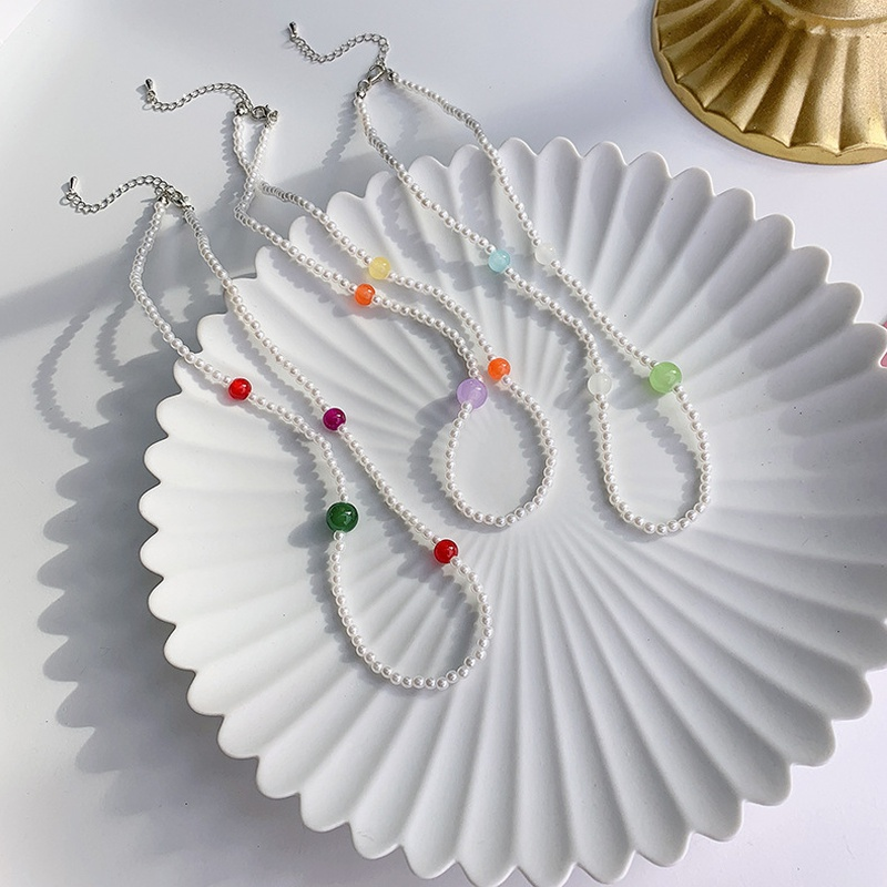 wholesale jewelry colorful bead pearl short necklace wholesale jewelry  NHMS389304