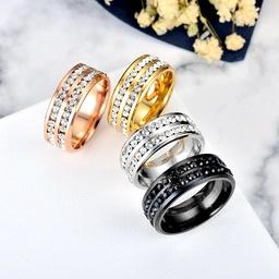 wholesale jewelry titanium steel double row diamond ring Nihaojewelry NHWZ389445