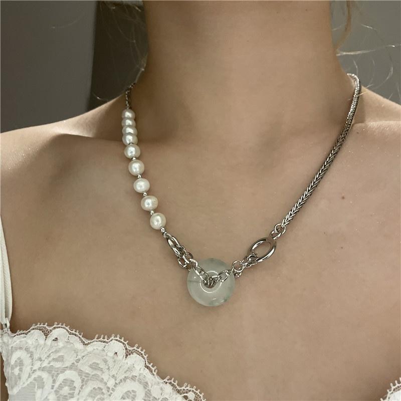 tourmaline stone pearl beaded stitching chain necklace wholesale jewelry Nihaojewelry NHYQ389542