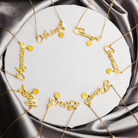 wholesale bijoux 12 constellation lettre pendentif titane acier collier nihaojewelry NHQC389715's discount tags