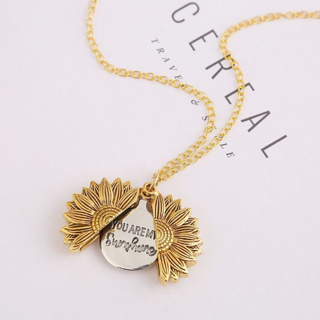 wholesale jewelry sunflower open lettering double-layer pendant necklace nihaojewelry  NHQC389714's discount tags