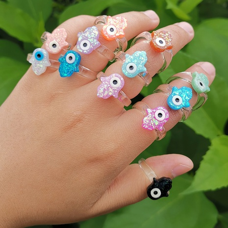 lindo anillo de resina multicolor alienígena de un solo ojo joyería al por mayor Nihaojewelry NHYIA389728's discount tags