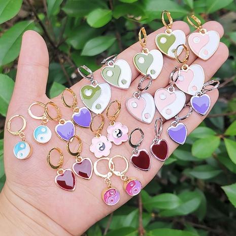 Al por mayor joyería corazón flor taichí pendientes de goteo de aceite nihaojewelry NHYIA389729's discount tags