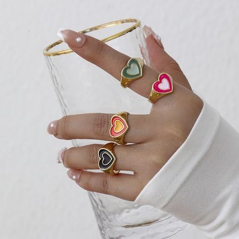 aleación que gotea aceite anillo en forma de corazón de doble capa joyería al por mayor Nihaojewelry NHYIA389733's discount tags