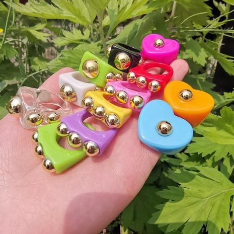 anillo de acrílico multicolor irregular en forma de corazón joyería al por mayor Nihaojewelry NHYIA389731's discount tags