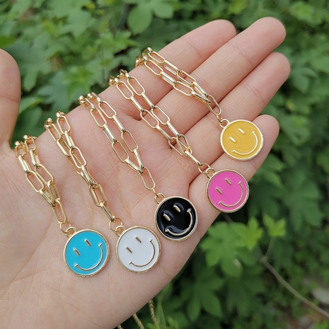 alloy dripping oil smiley face chain simple necklace wholesale jewelry Nihaojewelry NHYIA389736's discount tags