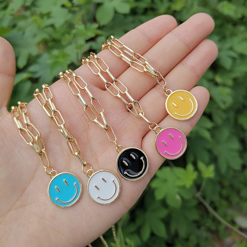 alloy dripping oil smiley face chain simple necklace wholesale jewelry Nihaojewelry NHYIA389736