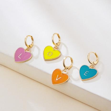 bisutería mayoreo multicolor letra en forma de corazón LOVE letra pendientes nihaojewelry NHYIA389738's discount tags
