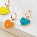 wholesale jewelry multicolor heartshaped letter LOVE letter earrings nihaojewelry  NHYIA389738