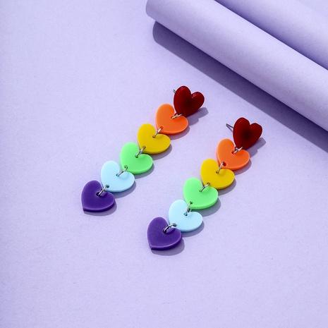 bisutería mayoreo pendientes de borla en forma de corazón de color arco iris nihaojewelry NHYIA389740's discount tags