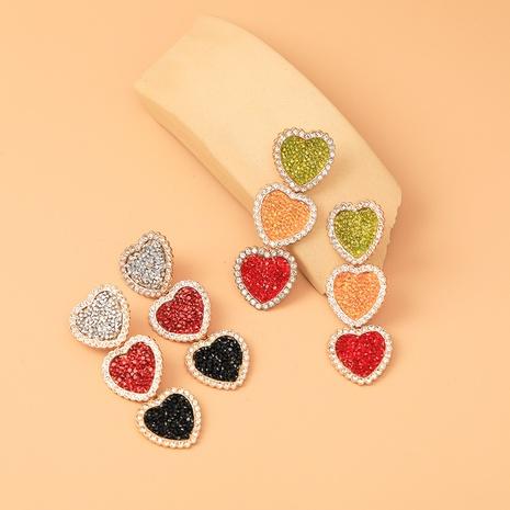 bisutería mayoreo pendientes de tasssl en forma de corazón de color de golpe de diamante completo nihaojewelry NHYIA389742's discount tags