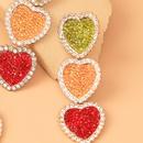 wholesale jewelry full diamond hit color heartshaped tasssl earrings nihaojewelry  NHYIA389742