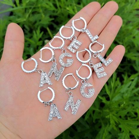 Al por mayor joyería pendientes con colgante de letra con incrustaciones de diamantes nihaojewelry NHYIA389747's discount tags