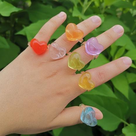 color caramelo transparente en forma de corazón anillo simple joyería al por mayor Nihaojewelry NHYIA389748's discount tags