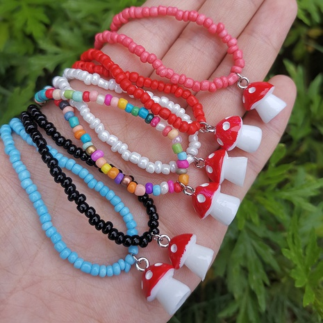 cute mushroom pendant color rice bead necklace wholesale jewelry Nihaojewelry NHYIA389750's discount tags