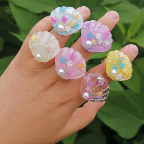 Al por mayor anillo de resina de color perla de concha de joyería Nihaojewelry NHYIA389757's discount tags