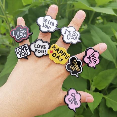 wholesale joyería de dibujos animados anillo de resina de oración corta en inglés Nihaojewelry NHYIA389767's discount tags