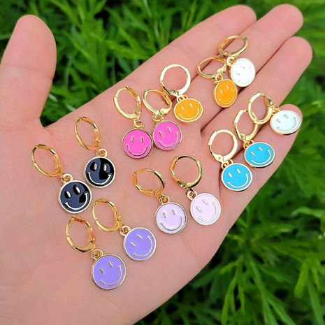 wholesale jewelry smiley color pendant earrings Nihaojewelry NHYIA389769's discount tags