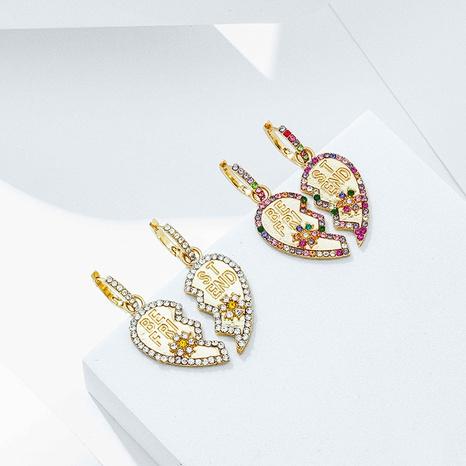 Joyas al por mayor pendientes de aleación de corazón de empalme de dos pétalos retro Nihaojewelry NHYIA389773's discount tags