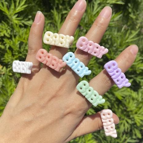 Al por mayor joyería de color sólido anillo de letras de acrílico Nihaojewelry NHYIA389779's discount tags