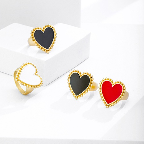 Al por mayor joyería de aleación en forma de corazón anillo multicolor Nihaojewelry NHYIA389783's discount tags