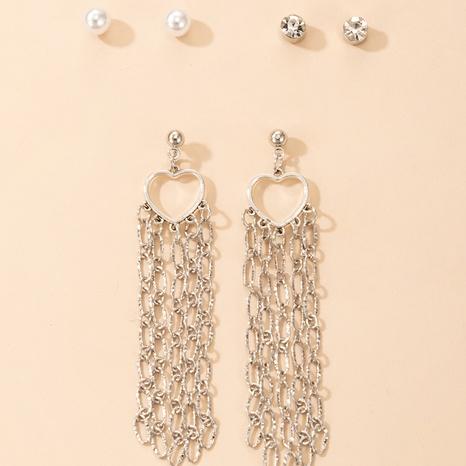 wholesale jewelry hollow heart long chain tassel earrings nihaojewelry  NHGY391687's discount tags