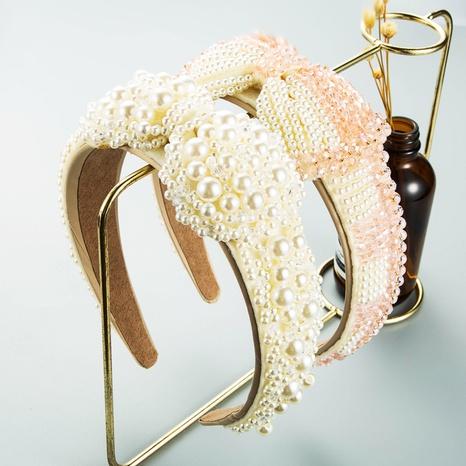 wholesale retro crystal pearl bow headband Nihaojewelry  NHLN389784's discount tags