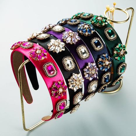 wholesale Baroque style rhinestone glass diamond wide-brim headband Nihaojewelry  NHLN389788's discount tags