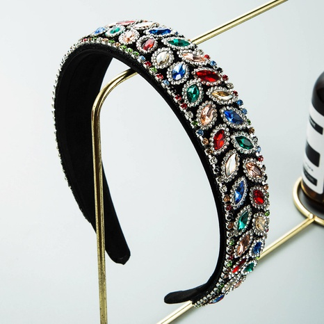 wholesale baroque fabric wide edge diamond headband Nihaojewelry  NHLN389786's discount tags