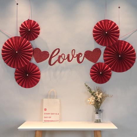 wholesale weiße perle rote papier blume fan hochzeitsraum hintergrund wanddekoration Nihaojewelry NHAH389960's discount tags