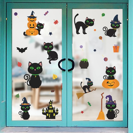 wholesale cartoon cute cat pumpkin wall sticker nihaojewelry  NHAF389997's discount tags