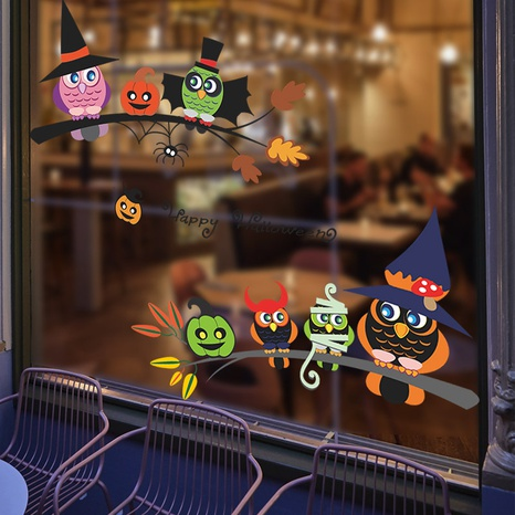 Wholesale Cartoon Owl Halloween Pattern Wall Sticker Nihaojewelry  NHAF390001's discount tags
