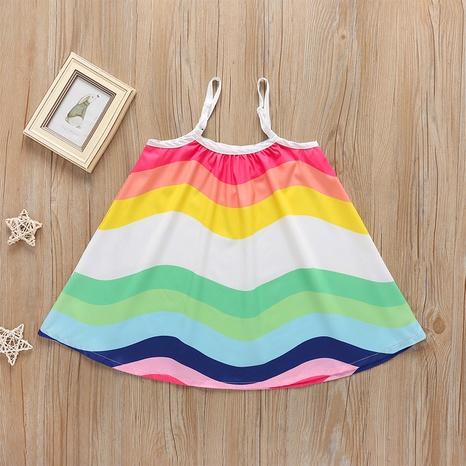 vestido de tirantes para niños de longitud media sin mangas de color arco iris suelto al por mayor Nihaojewelry NHLF390140's discount tags