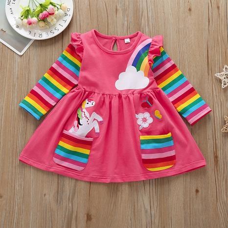 vestido de manga larga arco iris casual para niños al por mayor Nihaojewelry NHLF390143's discount tags