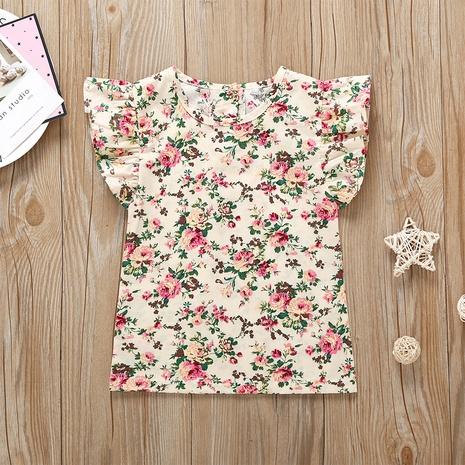 wholesale blusa de cuello redondo infantil con mangas voladoras florales Nihaojewelry NHLF390150's discount tags