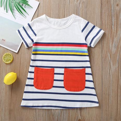 vestido casual de bebé a rayas de manga corta al por mayor Nihaojewelry NHLF390155's discount tags