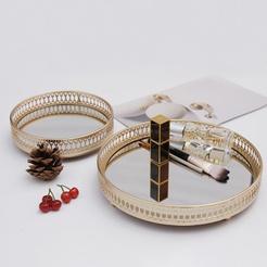 wholesale iron mirror shelf round storage tray Nihaojewelry NHAW390371