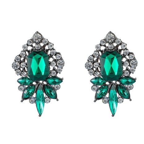 wholesale jewelry ethnic style full diamond emerald earrings nihaojewelry  NHGY391661's discount tags