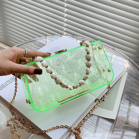 wholesale transparent candy color shell beaded messenger bag nihaojewelry  NHLH390440's discount tags