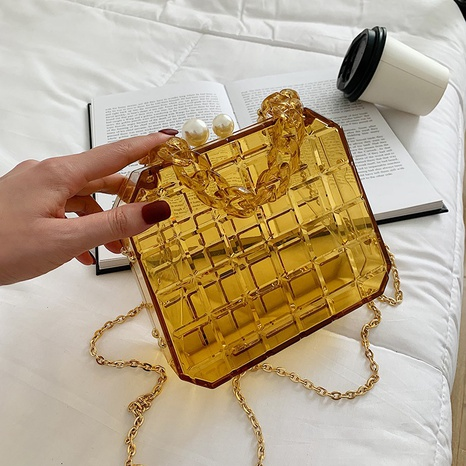 wholesale acrylic jelly color one-shoulder messenger small square bag nihaojewelry  NHLH390443's discount tags