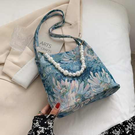 wholesale pearl chain painting flower pattern messenger tote bag nihaojewelry  NHLH390468's discount tags