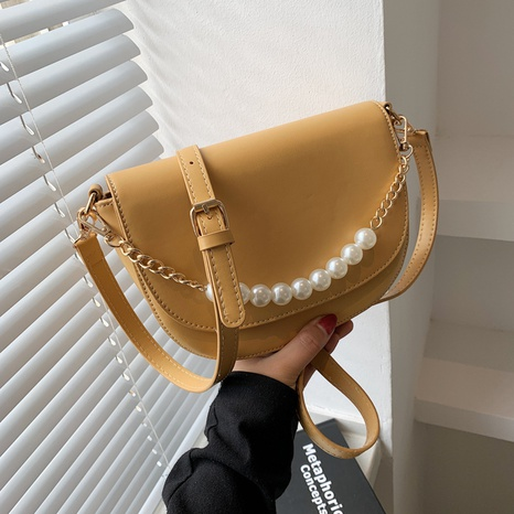 wholesale solid color pearl chain shoulder messenger small bag nihaojewelry  NHLH390469's discount tags