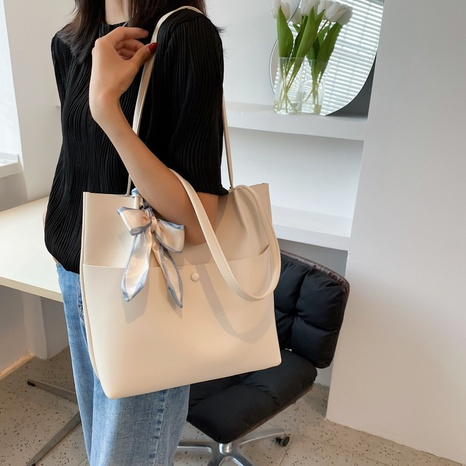 wholesale bowknot solid color large capacity portable shoulder tote bag nihaojewelry  NHLH390486's discount tags