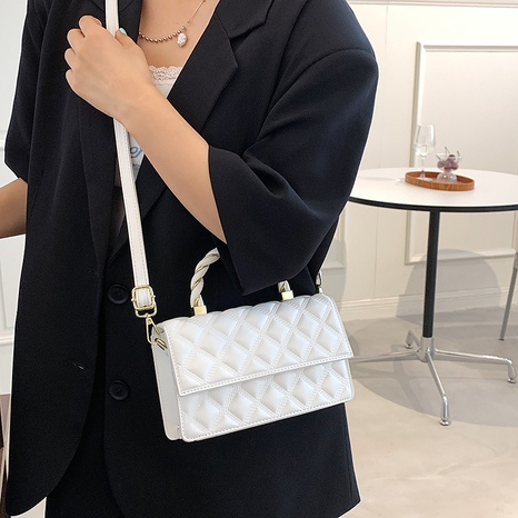 wholesale rhombus embroidered thread shoulder messenger small square bag nihaojewelry  NHLH390488's discount tags